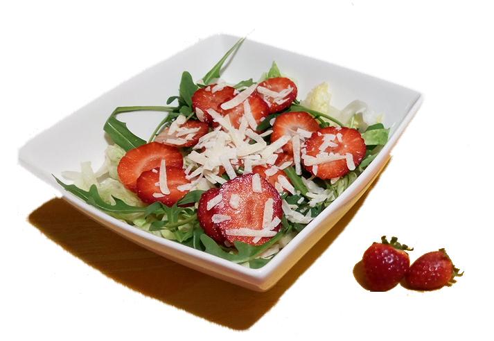 Receta: ensalada de fresas y rúcula con AOVE
